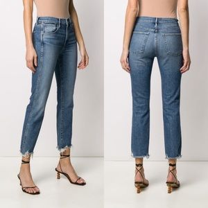 • 3x1 • High Waisted Shredded Cropped Jeans Ace